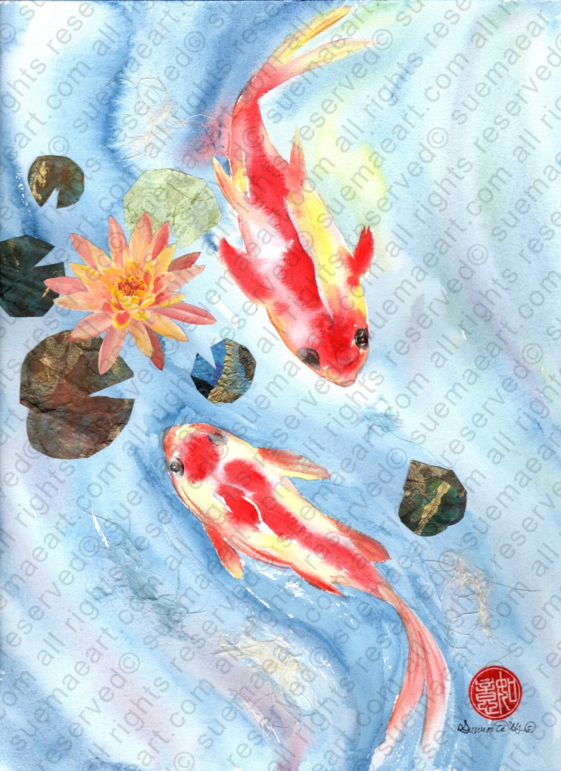 Koi and pink water lily collage